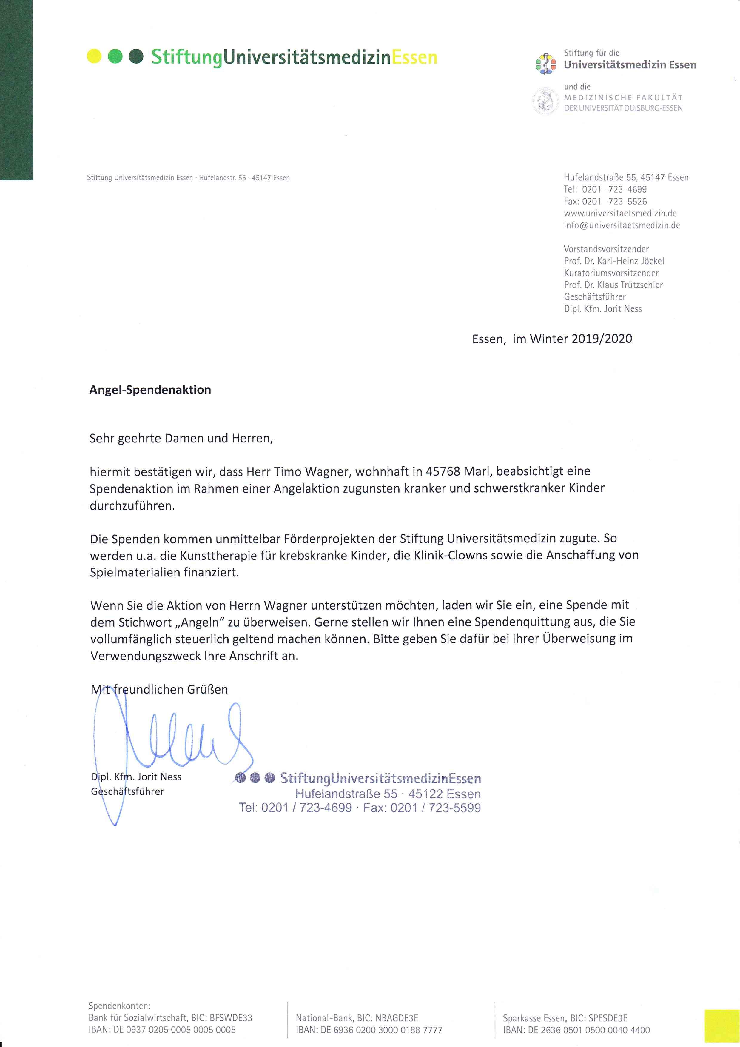 Bestätigungsschreiben Stiftung Universitätsmedizin Essen